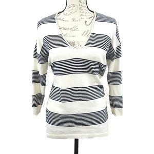 Madewell Striped V Neckline Sweater